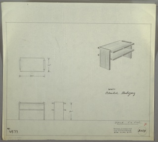 Perspective, plan, and elevation drawing for bleached mahogany end table. Rectangular table has two shelves, supported on both sides by wide leg/slab of wood with rounded top edge. Width of shelves on both sides extend beyond side legs.