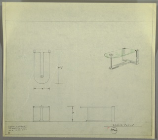Perspective, plan, and elevation drawing for vanity/end table. Right side of vanity probably fits against wall; left side is rounded glass surface, one tubular metal leg at left side and metal platform below. Two strap metal legs/support on right side.