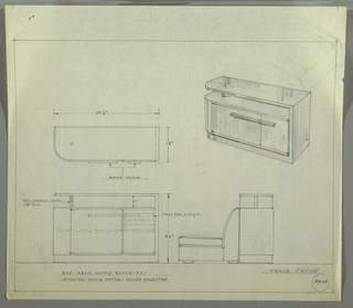 Design for behind-sofa bar with hare wood exterior and white maple interior. At upper right, perspective shows rectilinear cabinet with rounded front left corner. Carcass consists of sideways U-shape: base angles up at right before angling left again to form bar top surface, which is shallower than the base but identical in plan. Cabinet with asymmetrical doors (left wider than right) with rectangular door pulls spanning both rests on base; there is a gap between top of cabinet and bar top to create additional storage space. At upper left, plan with dimensions. At lower left, front elevation provides additional dimensions and describes object components and materials: top supported by polished chrome tube; interior cabinet features two trays for silver on shallow shelves at upper right with additional space below and at left. At lower right, side elevation shows intended situation of bar against back of armless sofa. Inscribed with Deskey No. 8464. On verso, upper left, rough perspective sketch of cabinet in graphite.