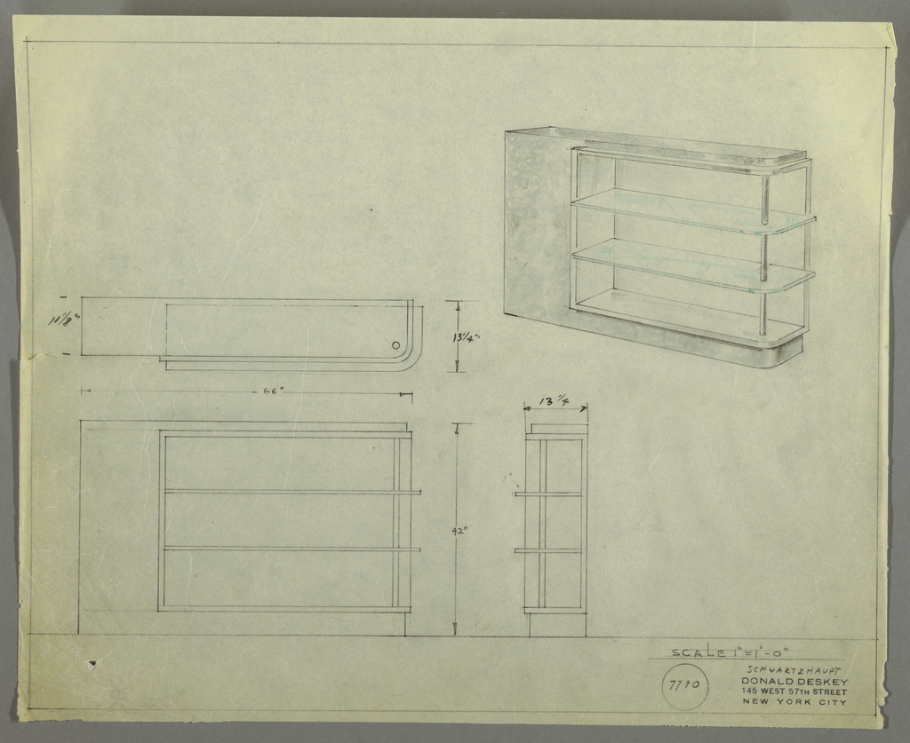 "Design for shelving for Emil Schwarzhaupt. At upper right, perspective shows rectilinear unit with rounded front right corner. Base, wide left side, and top appear as one piece into which shelves (along with top, bottom, and back planes) are set at right; their frame, and the glass shelves themselves, extend beyond right edge of base/top. Shelves supported at front right by tubular metal rods. At left and below, plan and front and side elevations with dimensions. Inscribed with Deskey No. 7790 and inscribed with ""Stow-Davies"" on the verso."