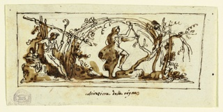 Horizontal rectangle with classical figure dancing under grape vines.