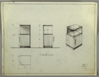 Perspective, plan, and elevation drawing of cabinet, probably meant to be placed in a corner. Three squared edges, rounded edge at front. Open shelf on two sides, cabinet below and smaller base at floor. Cabinet in wood, top of unit and base in darker material. Long vertical, rectangular pull on cabinet door.
