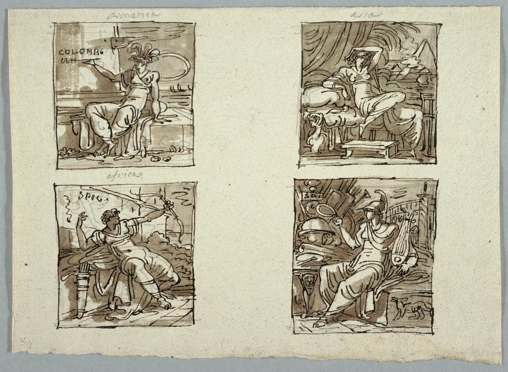 Female figure with head gear of feathers sits upon base of enormous column and writes: COLOMBO. View of sea and ships at right.  Inscribed in graphite: America.  At top right:  female figure seated upon couch. View of palms and pyramids at right.  Inscribed: Asia.  Bottom left: female figure seated at foot of castle, posed just after shooting arrow. Inscribed on wall of castle: Spog.  Bottom right: Europe. Female figure wearing helmet holding wreath lyre, seated among Roman monuments.