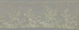 Part of a narrow flounce in an Art Nouveau pattern of floral sprays.