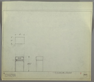 Plan and elevation drawings for small end table. Rectangular top of table has rounded edges and drawer below; supported by two straight legs.