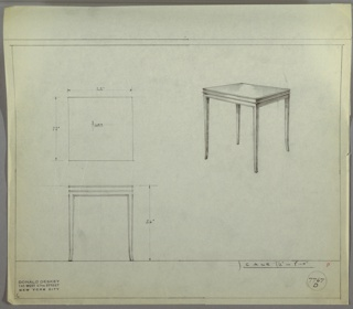 Perspective drawing of end table with four delicate saber legs and square surface, decorative ridge below cornice of table top.
