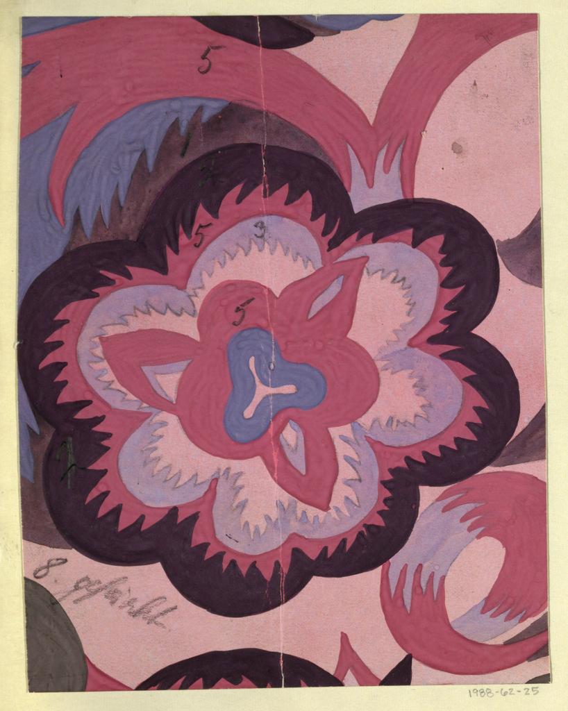 Floral design in rose, mauve, gray, and violet