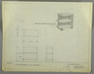 Perspective, plan, and front and side elevations for end table with shelves in Macassar ebony and white sycamore. Rectilinear object supported by plane at right and rectangular foot at left (this side open). Side, back, foot, and top in Macassar ebony with two shelves (one at base and the other at mid-height), which extend just beyond object plane, in white sycamore. Inscribed with Deskey No. 7434.