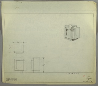 Perspective, plan, and elevation drawing of small night table. Left side of table probably burled wood (?), rectangular in shape with squared edges. Protruding section in a different wood on right side, with drawer and cabinet below; rounded front corner.