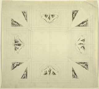 Ceiling divided into 5 rectangular and 8 triangular compartments, corresponding to coved ceiling. In center of each side, horizontal rectangle with lunette; each lunette has central standing figure flanked by two seated figures. One standing figure holds lyre (other figures hard to decipher). In each of 8 triangular compartments is dancing female figure holding wreathe above her head and facing corner, which apparently was to receive stucco decoration. Central panel remains blank, apparently for painting by another artist.