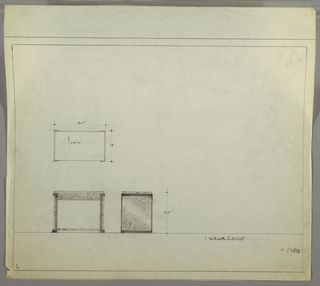 Design for rectangular end table seen in plan and front and side elevation. At center left, plan details object footprint while below at left, front elevation describes rectangular table with stretcher across bottom and outward-facing bracket details on support piers. At lower center, side elevation reveals concentric, layered square motif of piers. Margins ruled in graphite. Inscribed with Deskey No. 8150.
