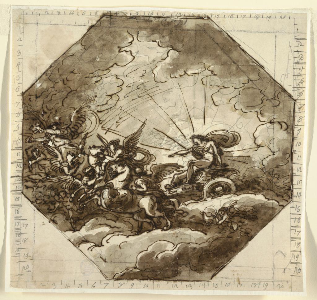 Drawing, Apollo in his Chariot with Aurora, Sala Ottogonale, Palazzo Milzetti, Faenza