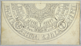 Portion of a ceiling, showing a hemisphere divided into bands of ornament. Outer band shows figural friezes. Above this, panels with arabesques and sphinxes. Two medallions, the right one showing a standing figure.