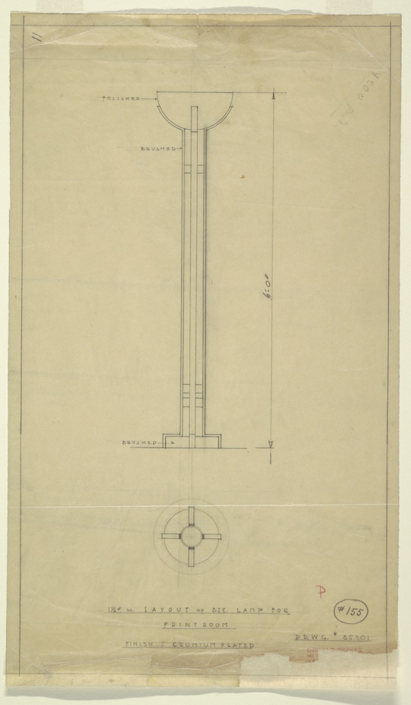 Floor lamp for print room of Abby Aldrich Greene Rockefeller apartment. Tall bronze (?) lamp with circular base of brushed metal. Shaft of lamp made of four vertical strips of brushed metal; two circular rings in between vertical strips near base of lamp and one near top of lamp. Vertical strips become supports/mount for bowl of lamp in polished metal.