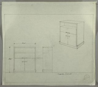 Design for cabinet with shelf, drawer, and cabinet (from top to bottom). At upper right, perspective shows rectangular-plan case piece with top section resting on base with drawer/cabinet, all atop a platform. Drawer and cabinets accessed by horizontal pulls. Top section seems to rest, inset, on base. At lower left, front and side elevations with dimensions; side elevation at lower center seems to indicate that drawer front drops down secretary-style, and that open shelf does not extend to full depth of piece.