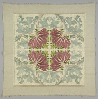 Embroidered cotton square intended as a cushion cover, with a vertically and horizontally mirrored pattern of a rose-colored flower with grass-green leaves, surrounded by pale blue acanthus leaves, after a design by William Morris. It was purchased as a kit in the Morris shop in London, and worked by the donor.