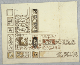 Portion of a ceiling divided into framed panels, each with a figural frieze, mask, animals or grotesque.