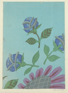 Part of a sunflower in purple and green, with three blue roses on an aqua ground.