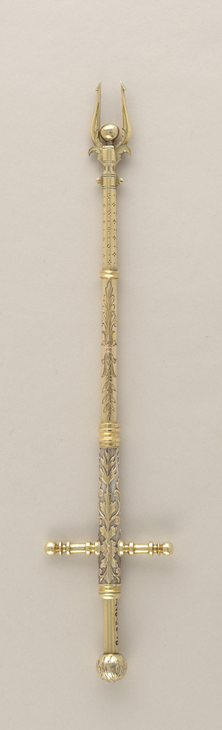 Spring-loaded silver cherry spear with gilt, engraved and relief decoration.