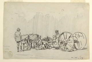 Horizontal view of a yoke of oxen with a drover, drawing a truck on which a woman sits with a small child on her lap, and a faint indication of trees visible in background.