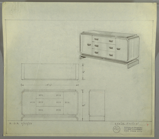 "Design for sideboard. At upper right, perspective shows rectangular case piece with rounded corners resting on inverted U-shaped base; in between, a plane of material similar to that of top surface (possibly Bakelite or lacquer) and of slightly smaller plan that overall object. On either side, cabinet door accessed by cascading pull; at center, three stacked drawers each with two cascading pulls. At lower left, plan and front and side elevations with dimensions. Inscribed with ""K-D.R. 11/28/33"" and Deskey No. S 7769."