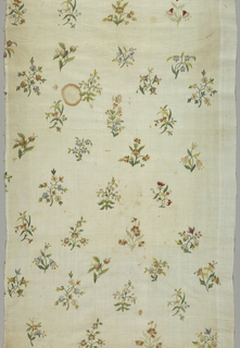 "Cream-colored cotton (possibly from a curtain or skirt) with detached floral motives worked in chain stitch. Flowers small garden varieties in clusters 3"" to 4"" long; arranged in staggered rows. Shading used in some blossoms. Right selvage present."