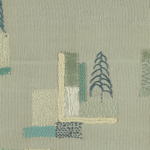 Pale blue wool and silk, embroidered in wool, chenille and metal in light shades of green, blue, grey and white. Abstract pattern incorporating letters in white spelling ELIZABETH and in corner LOVE mk. Top and bottom has short self fringe.