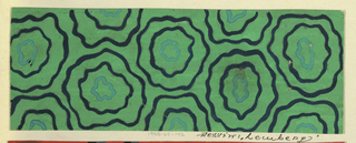 Green ground with pattern of wavy concentric circles in blue and acqua