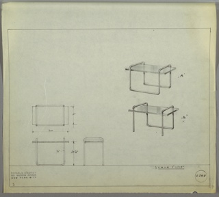 Perspective, plan, and elevation drawing for two versions of an end table. Table above has glass rectangular surface with tubular metal frame; sleigh legs on two sides. Table below has same glass surface with sleigh leg on one side, and two straight tubular legs on opposite side.