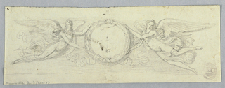 Horizontal rectangle with two winged genii holding a laurel wreath which has a ribbon at its bottom. Hatched background. Framing line at bottom. Obverse: slight sketch, of two spirals of a rinceau, and an account written in pencil.