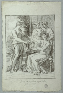 A seated woman is handed a vessel from one of three women standing around her. Tiled floor beneath her and view of landscape at left.