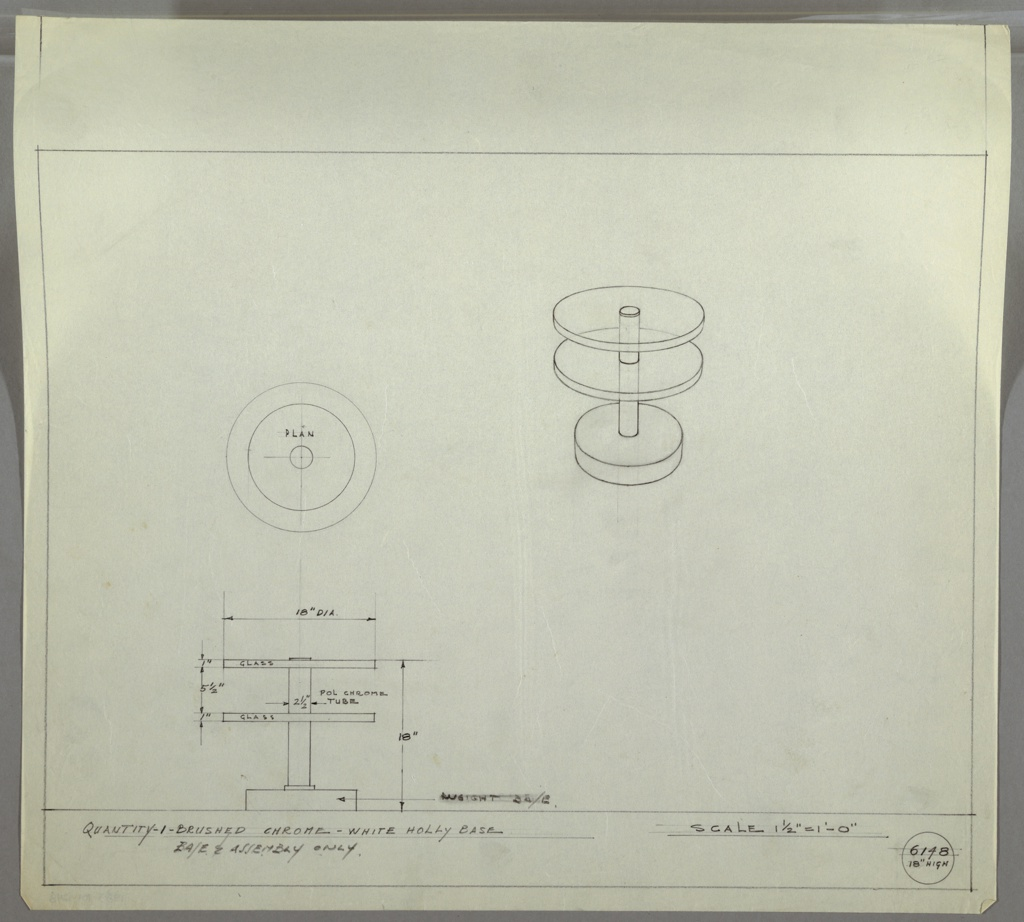 Perspective, plan and elevation drawing for end table. Two circular glass shelves at top of table with polished chrome tube as support. Circular weighted base below in white holly.