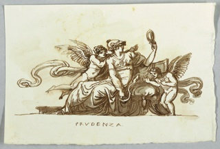 Woman with helmet shown seated and peering in looking glass at which putto beside her points. Another putto looks at snake which surrounds her left arm.