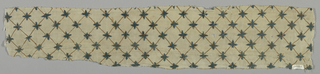 Small strip, twill woven white linen, embroidered in green-blue and brown wools. Trellis pattern in brown, with two selvages where material is seamed.