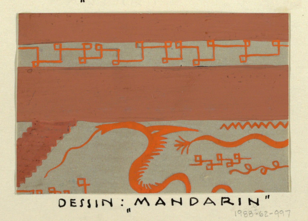 Pseudo-Greek key and stylized dragons in orange, red, and gray.