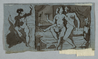 At left, Paris is shown from the front sitting in the Judgement. At right, two nude figures seated on a bed, embracing.
