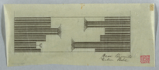Five striped horizontal rectangles facing each other at irregular lengths.