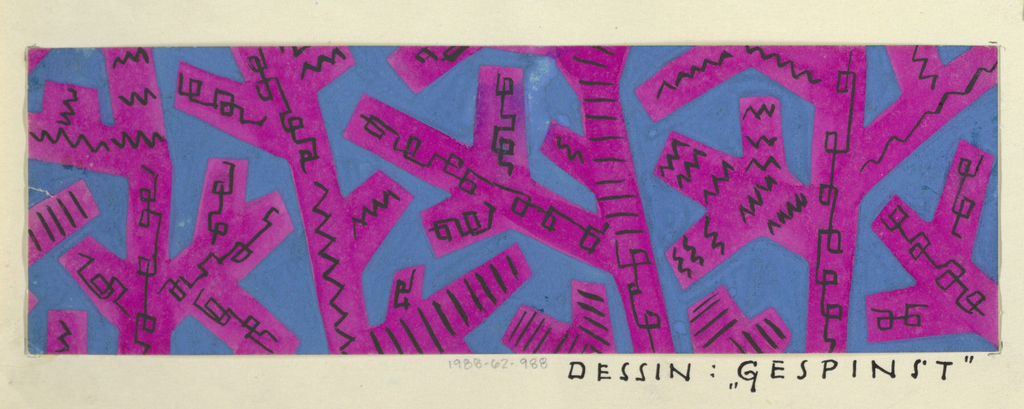 Narrow horizontal rectangle with abstract purple rectangular webbed design on blue ground. Black zigzagging and chain forms decorate each of the branching purple shapes.