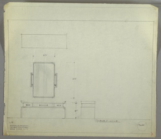 Plan and elevation drawing of long, rectangular wooden (?) vanity table and rectangular mirror. Two sides on top of table curve upward, and base/legs curve downward. Three drawers between top and base with rectangular pulls; large drawer at center, two smaller drawers on each side. Large rectangular mirror above vanity with two vertical, tubular lights on each side.