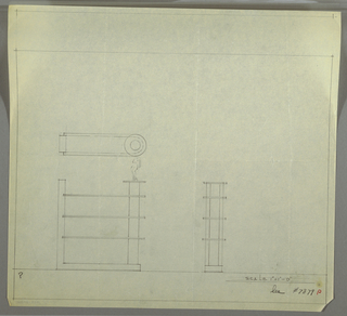 Design for glass shelving with display plinth. Plan and front and side elevations for L-shaped support terminating in circle at right. Set into and spanning out from the left support are three glass shelves (indicated in green) supported at right by metal column topped by glass disc serving as display service (shown with abstract figural sculpture). Inscribed with Deskey No. 7879.
