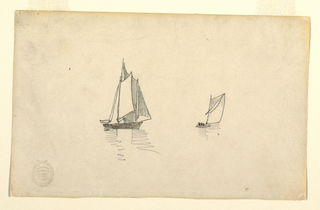Horizontal view of a two-masted schooner on the left, with a small sailboat on the right.