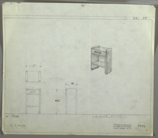 Perspective, plan, and elevation drawings for small end/night table, probably wood. Drawer at top with rectangular pull; open shelf below, rounded sides of table and feet.
