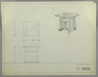 Perspective, plan, and elevation drawing for small table, probably wood or lacquered wood. Shallow open shelf below surface of table; two legs at each side with curved base/stretcher.