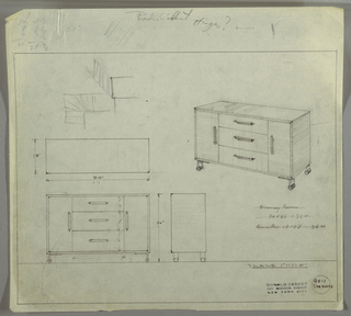 Perspective, plan, and elevation for low, boxy sideboard, probably wood. Rectangular shape with cabinet on far left and right side; vertical pulls near center. Three stacked horizontal drawers at center with narrow pulls at center. Sideboard on four low, strap (metal ?) feet with rounded piece.