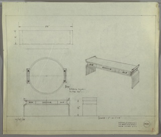 Perspective, plan, and elevation drawing of long, rectangular wooden vanity table and round mirror. Two sides on top of table curve upward, and base/legs curve downward. Three drawers between top and base with rectangular pulls; large drawer at center, two smaller drawers on each side. Large circular mirror above vanity with two vertical, tubular lights on each side.