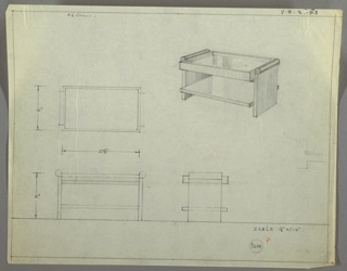 Perspective, plan, and elevation drawing for low, rectangular coffee table. Top of table probably glass with ridge around table creating a sunken surface. Frame of table in wood, with shelf below open on both sides and surface extending beyond frame. Rounded handles/decorative piece on each side in darker material.