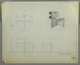 Perspective, plan, and elevation drawing for small end table. Irregular shape of table with various levels and surfaces; material probably wood. Plan of table shows demi-lune shape, with two shelves on left side; top shelf is highest level. Shelf below is equal in level to shelf on right side of table. Leg at center extends to back wall of table.