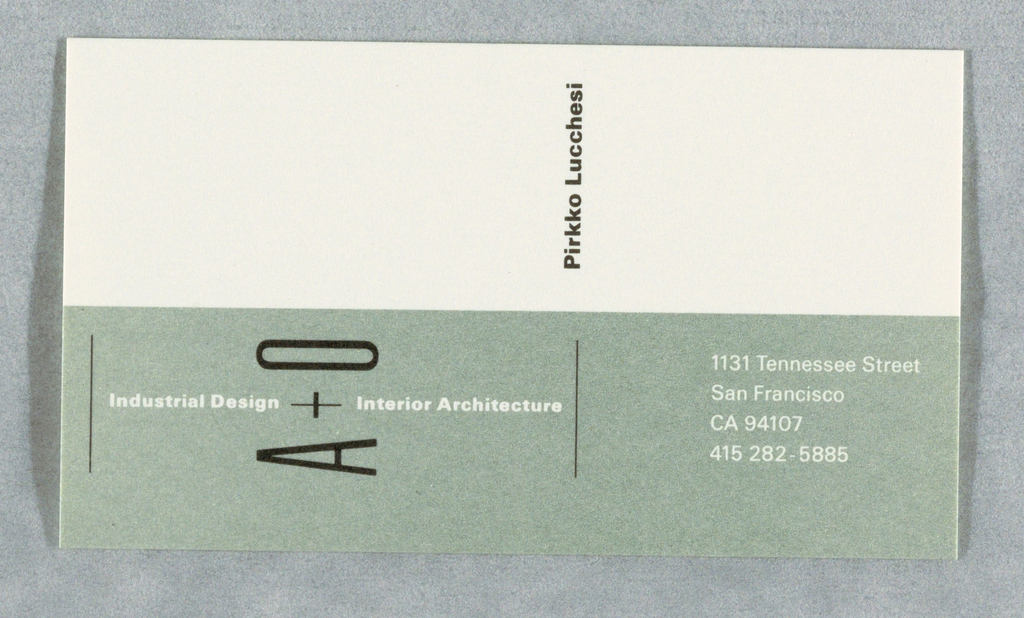 Card divided in light green and cream with text in black and white: Industrial Design A + O Interior Architecture / Pirkko Lucchesi / 1131 Tennessee Street / San Francisco / CA 94107 / 415 282-5885.