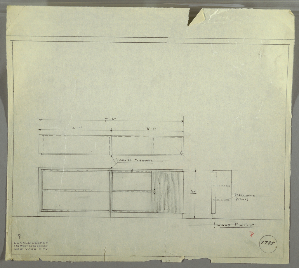 Design for shelving units with adjustable shelves. At lower left, front elevation shows planar, rectilinear cabinets that screw together at central seam; outside edges are thicker. Shelves in striated wood set into frame of lighter material (side elevation indicates two adjustable shelves; only one pictured in front elevation). Right unit has cabinet at right, accessed by spherical pull set in vertical mount. Plan above with additional dimensions. Inscribed with Deskey No. 7785.