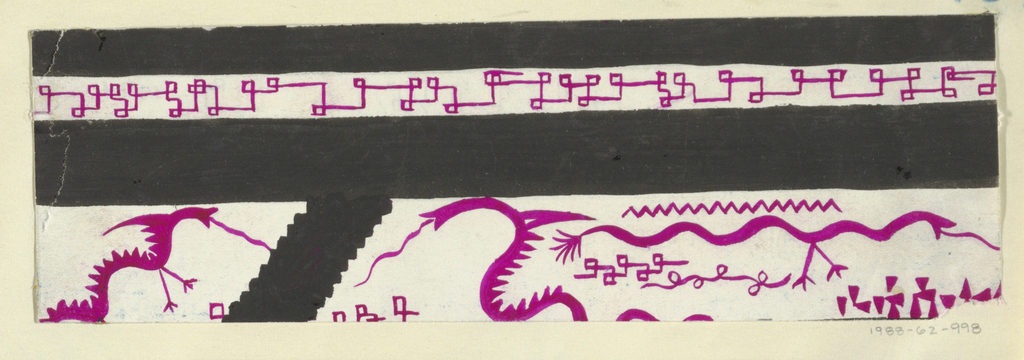 Pseudo-Greek key and stylized dragons in purple, black, and orange.